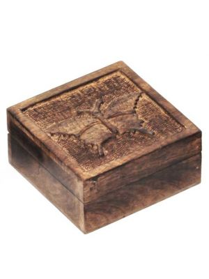 Mango Wood Carved Butterfly Box