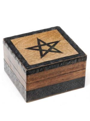 Mango Wood Box With Pentagram Metal Detail 5