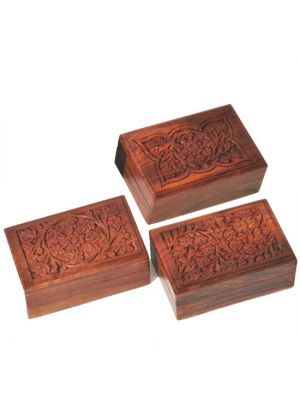 Hand Carved Wood Boxes Set/6