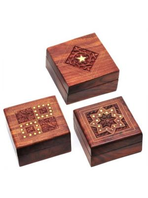 Hand Carved and Inlay Wood Boxes Set/6