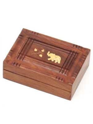 Wood Box with Brass Inlay Elephant 7