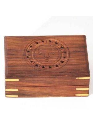 Wood Box with Carved Sun Face 6