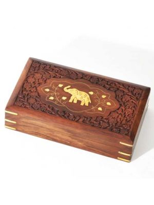 Wood Box with Carving and Brass Inlay Elephant 10