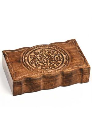 Mango Wood Box with Carved Leaves 10