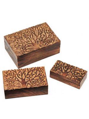 Mango Wood Boxes with Tree of Life Set/3