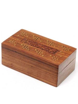 Hand Carved Wood Box With Floral Brass Inlay 6.5