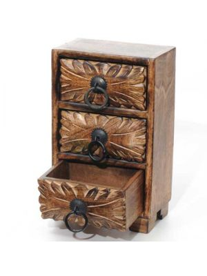 Hand Carved Wood Chest With Three Drawers 6.5 x 4 x 10.75