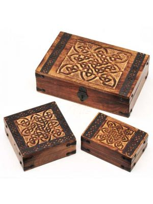 Mango Wood Boxes with Metal Work Set/3