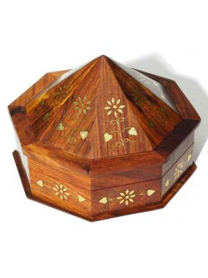 Wood Box Octagon Tent Brass Inlay 5X5X3