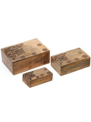 Hand Carved Mango Wood Boxes Set/3
