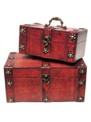 Antique Wood & Leather Chests Set/2