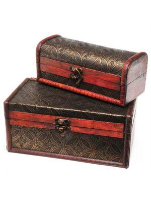 Antique Wood & Leather Boxes Set/2