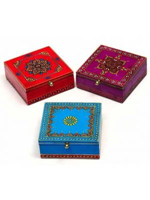 Hand Painted Hinged Wood Boxes Set/3 5