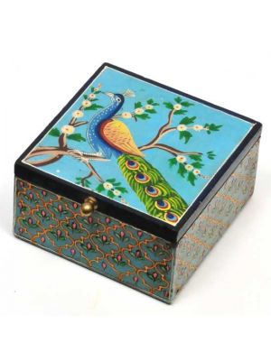 Hand Painted Wood Peacock Box 5