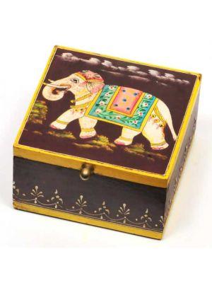Hand Painted Wood Elephant Box 5