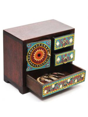 Hand Painted Wood Set of Drawers 8