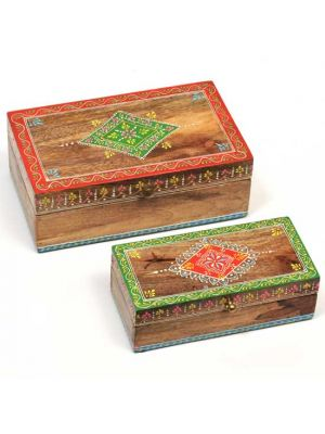 Hand Painted Wood Boxes Set/2