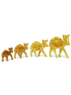Carved Wooden Camels Set/4