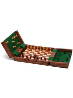 Magnetic Folding Wood Chess Set 7.5