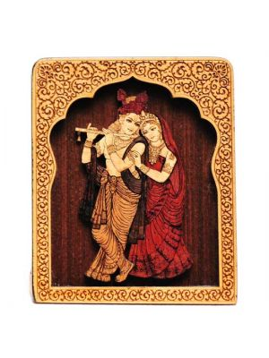 Laser Etched Wood Radha/Krishna with Temple Stand 4