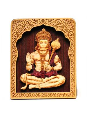 Laser Etched Wood Hanuman with Temple Stand 4