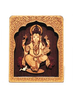Laser Etched Wood Ganesha with Temple Stand 4