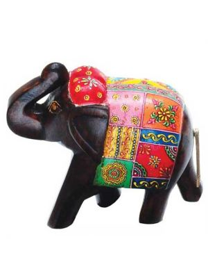 Hand Painted Wood Elephant 6
