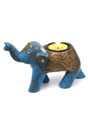 Painted Wood Elephant Candle Holder 3.5