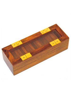 Wood Domino Box Glass Lid