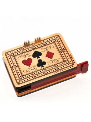 Wood Cribbage Board With 4 Suits 4.5