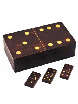 Antique Wood Dominoes Box