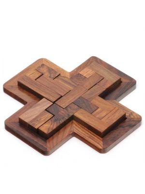 Wooden Puzzle Game In Plus Design 7