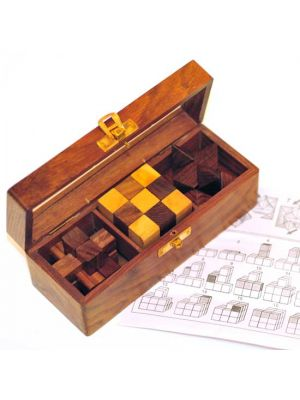 Wood Box of 3 Puzzles
